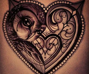 tattoo, owl, and heart image