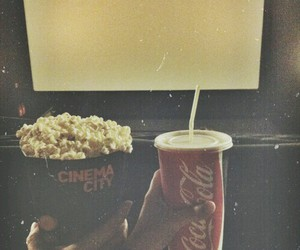 popcorn, cinema, and coca cola image
