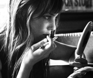 jane birkin, black and white, and hair image