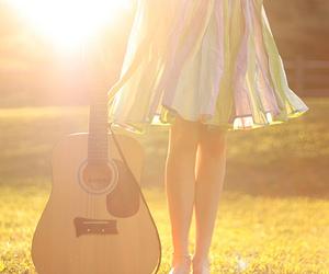 guitar, girl, and dress image