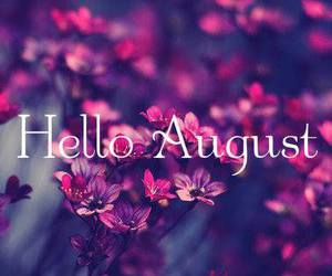 August, hello, and flowers image