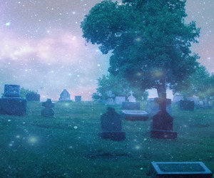 cemetery, photography, and stars image