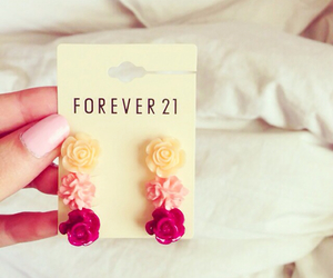 forever 21, flowers, and earrings image