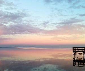 beach, sunrise, and sunset image