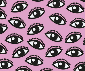 pink, eyes, and wallpaper image