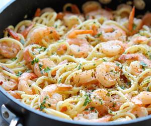 food, shrimp, and pasta image