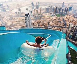 city, travel, and waterslide image