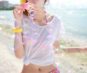 bubbles, girl, and summer image