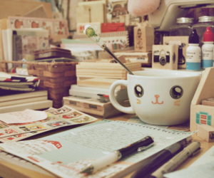 cute, desk, and book image