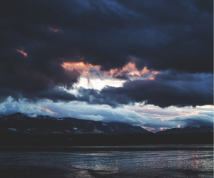 clouds, dark, and mountains image