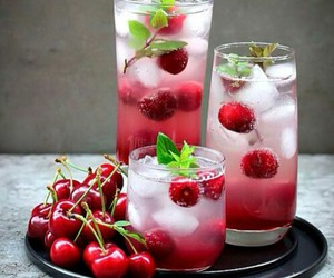 drink, cherry, and fruit image