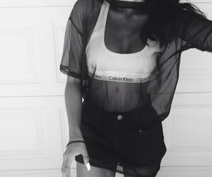 girl, black and white, and Calvin Klein image