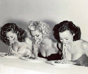 food, spaghetti, and black and white image