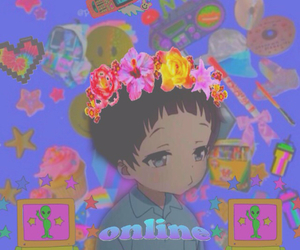 anime, cyber, and flower crown image