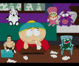 cartman, sad, and clyde frog image