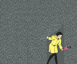 rain, umbrella, and illustration image