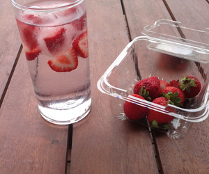 strawberry, water, and fruit image