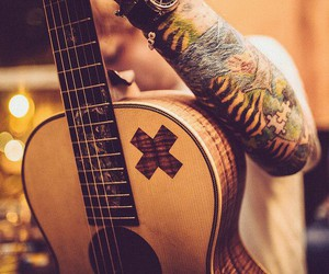 ed sheeran, guitar, and tattoo image