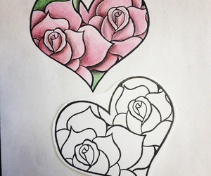 drawing, flower, and heart image