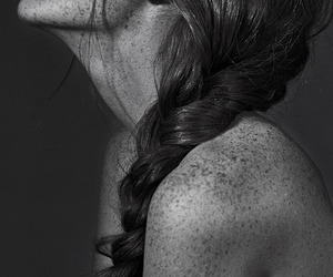 black & white, freckles, and skin image