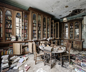 abandoned, book, and decay image