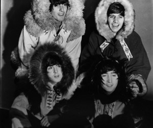 the beatles, black and white, and george harrison image