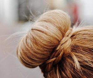 hair, bun, and blonde image
