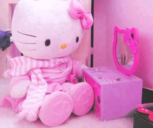pink, pink room, and hello kitty pink image