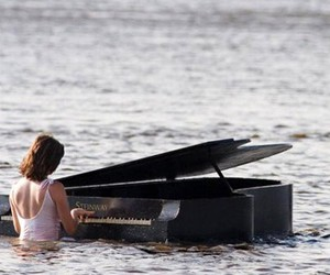 piano, music, and water image
