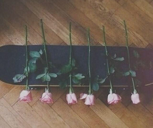 rose, skateboard, and flowers image