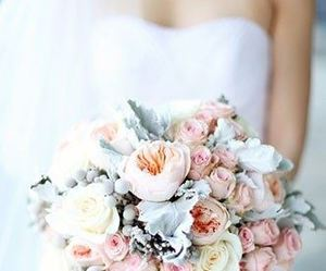 bride, pink, and white image