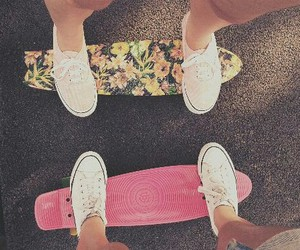 skate, summer, and flowers image