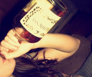 drink, girl, and hennessy image