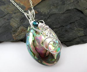 sterling silver, beach jewelry, and abalone shell image