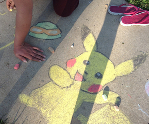 chalk, doodles, and pikachu image