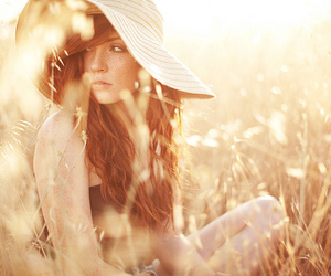 girl, hat, and sun image