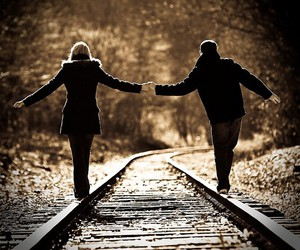 black and white, couple, and photography image