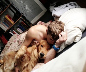 dog, boy, and Hot image