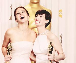 oscar, Anne Hathaway, and Jennifer Lawrence image