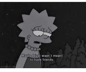the simpsons, sad, and no friends image