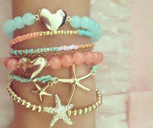 bracelet, heart, and stars image