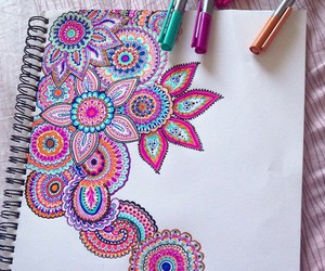 drawing, mandala, and mandalas image