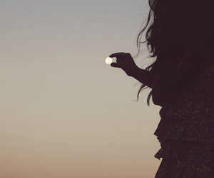 girl, moon, and photography image