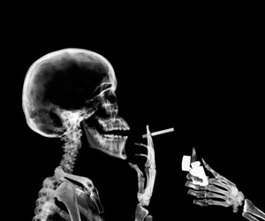 cigarette, smoke, and skull image