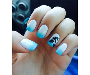 blue, nails, and palm tree image