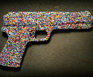 candy, colors, and gun image