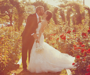 adorable, couple, and flowers image