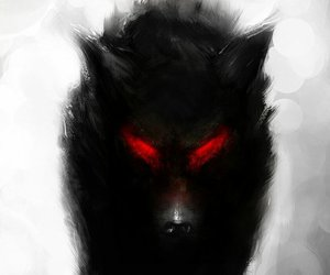 black, red eyes, and wild image