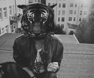 girl, tiger, and black and white image