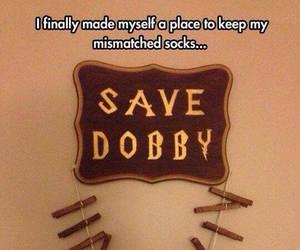 harry potter, socks, and dobby image